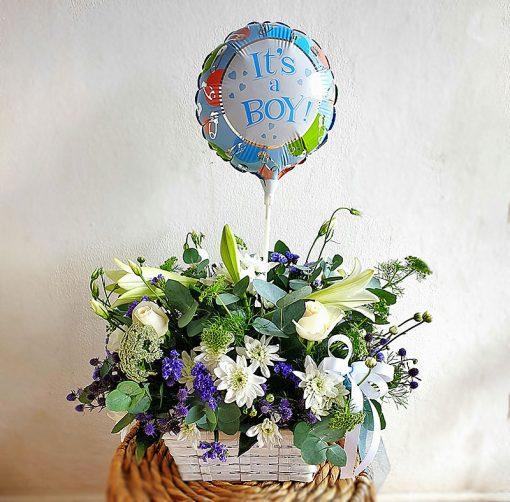 baby-boy-birth-flower-arrangement-with-balloon